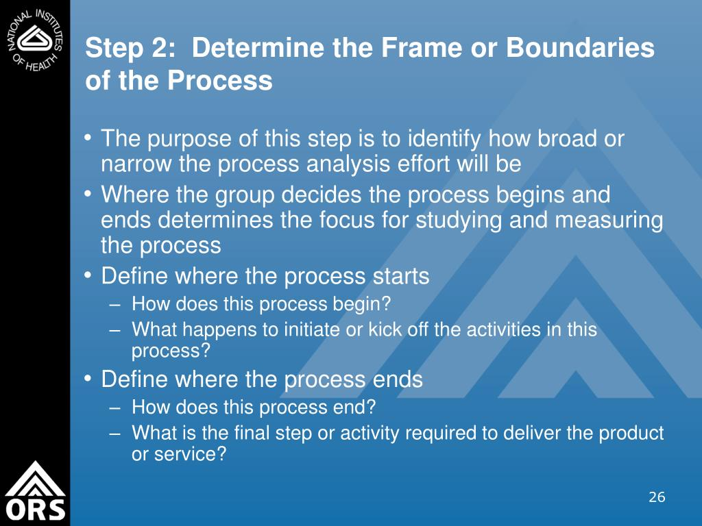 Step 2:  Determine the Frame or Boundaries of the Process