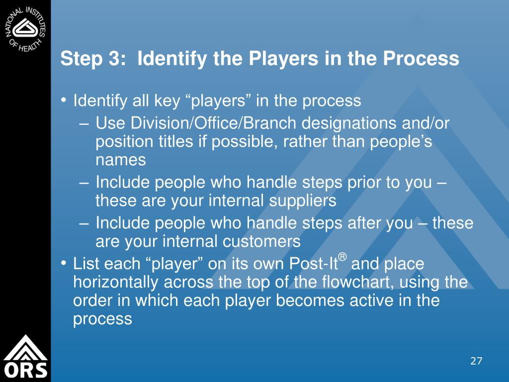 Step 3:  Identify the Players in the Process