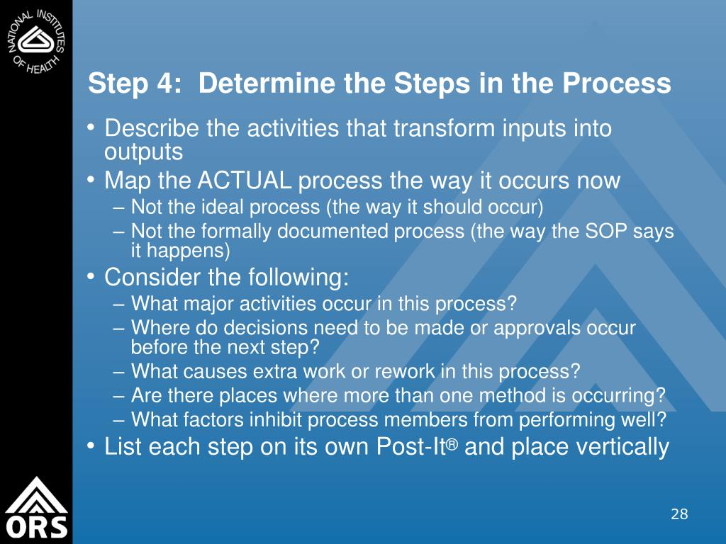 Step 4:  Determine the Steps in the Process