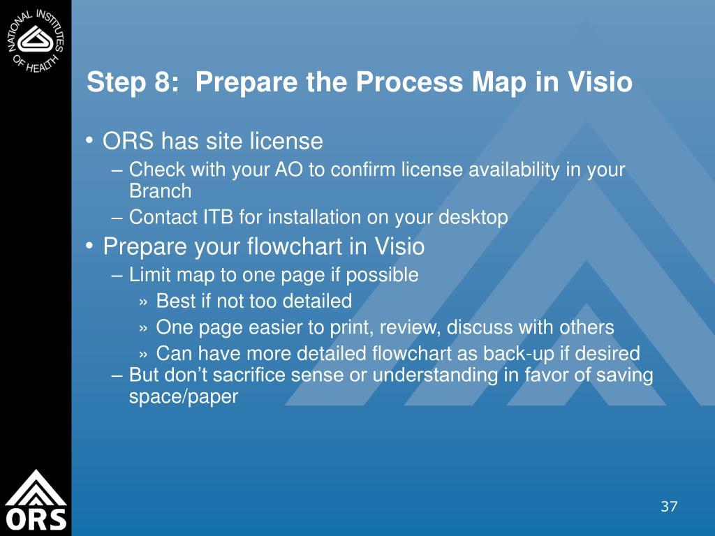 Step 8:  Prepare the Process Map in Visio
