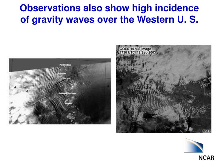 Observations also show high incidence of gravity waves over the Western U. S.