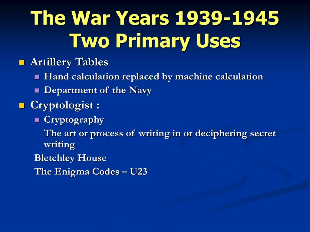 The War Years 1939-1945