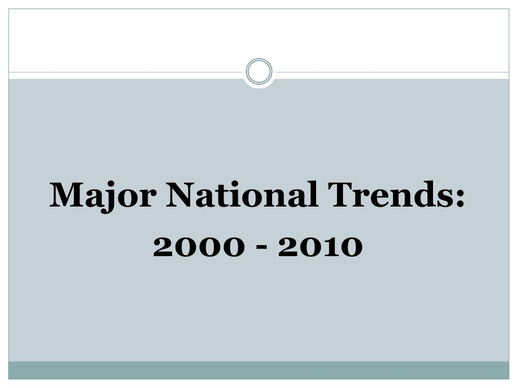 Major National Trends: