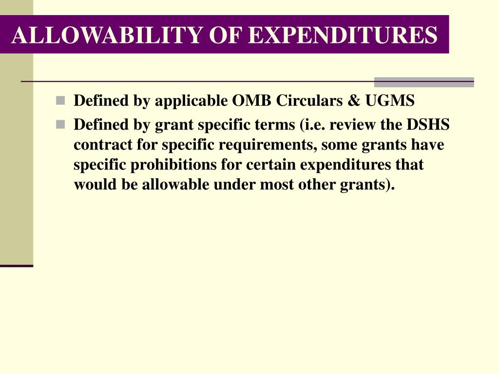 ALLOWABILITY OF EXPENDITURES