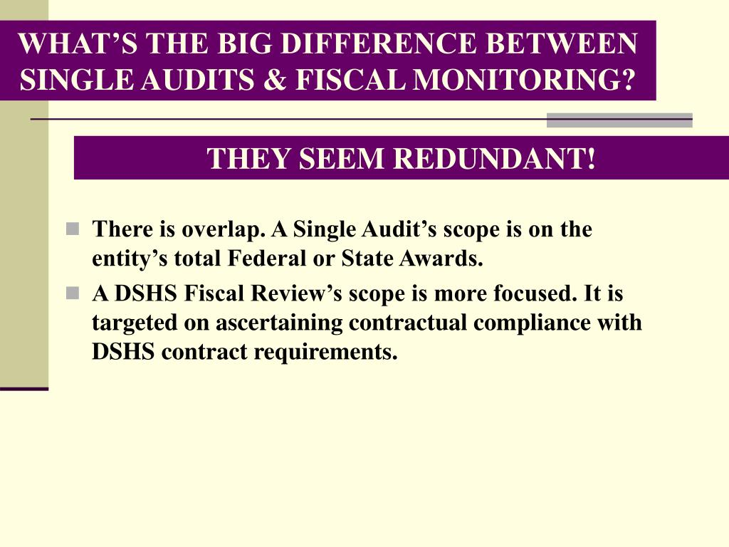 WHAT'S THE BIG DIFFERENCE BETWEEN SINGLE AUDITS & FISCAL MONITORING?