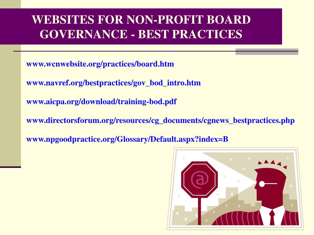 WEBSITES FOR NON-PROFIT BOARD GOVERNANCE - BEST PRACTICES