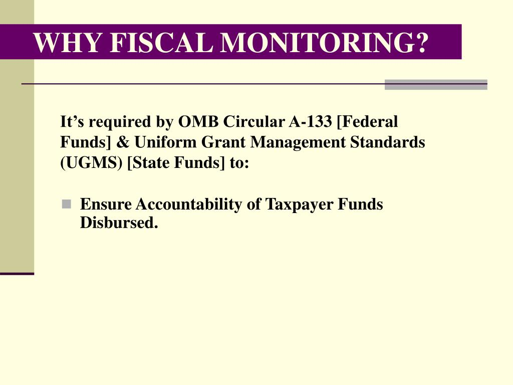 WHY FISCAL MONITORING?