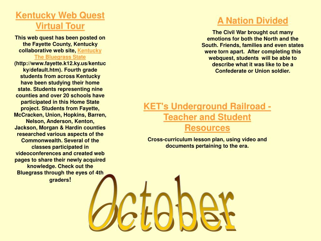 Kentucky Web Quest Virtual Tour