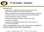 fy 06 audits valuation