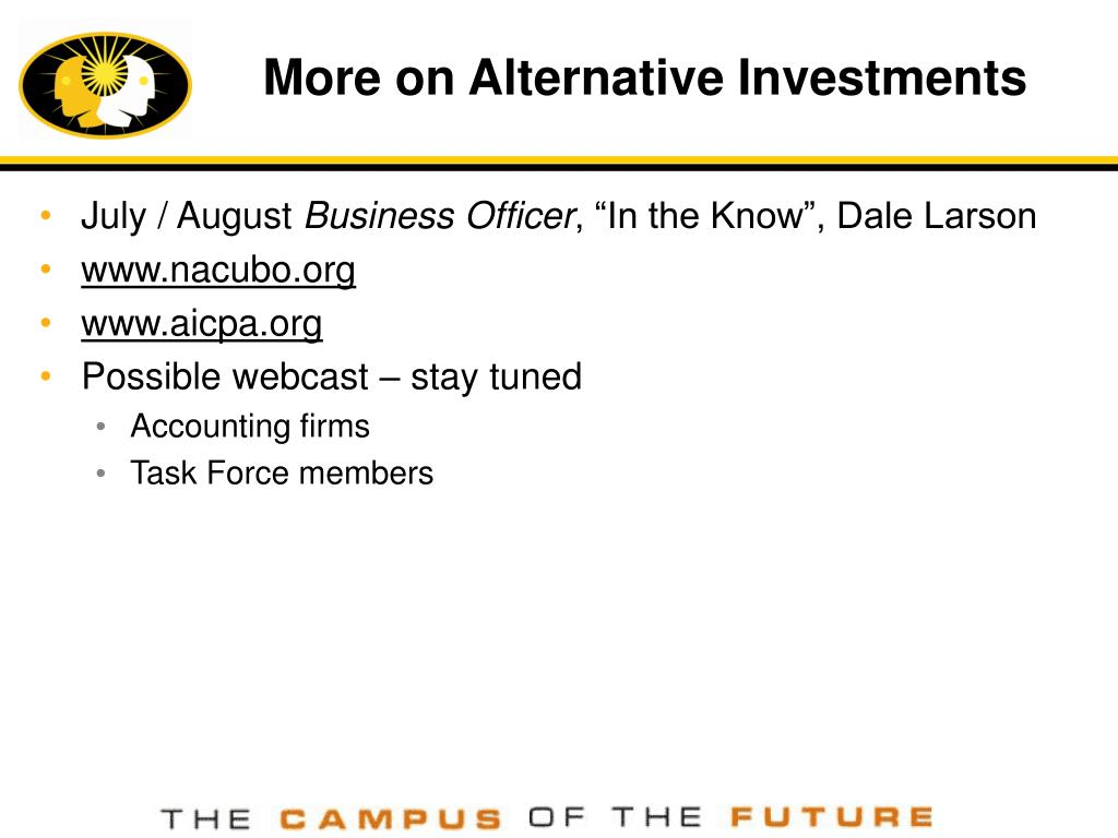 More on Alternative Investments