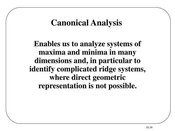 Canonical Analysis