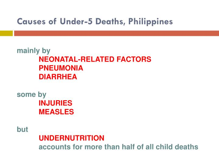 Causes of under 5 deaths philippines