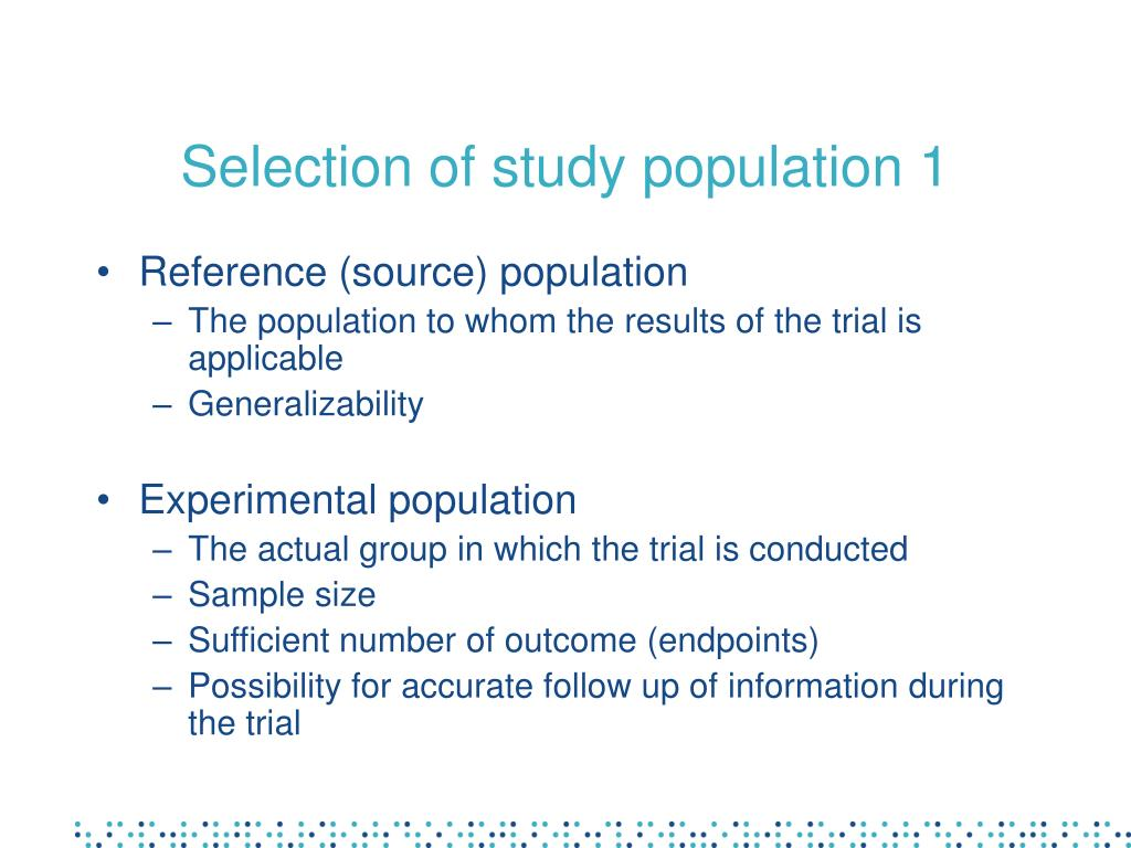 Selection of study population 1