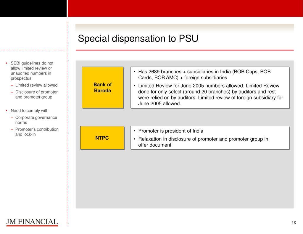 Special dispensation to PSU