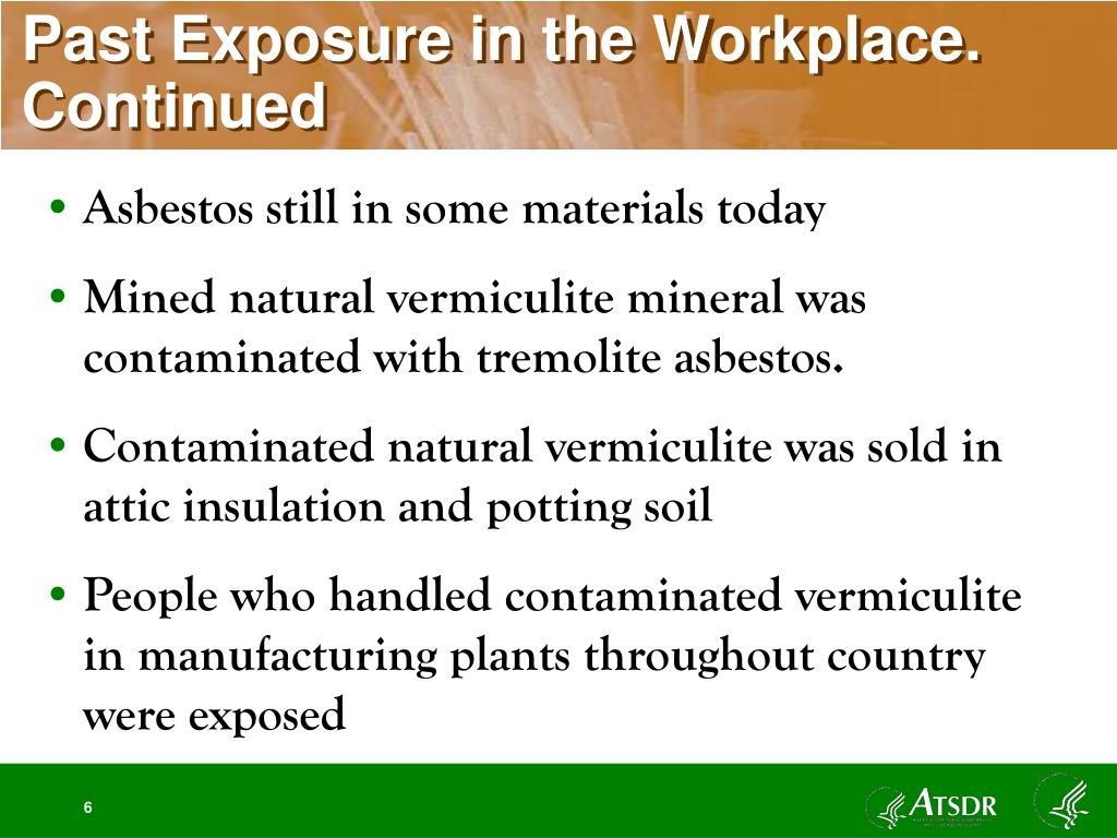 Past Exposure in the Workplace. Continued