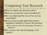 completing your research