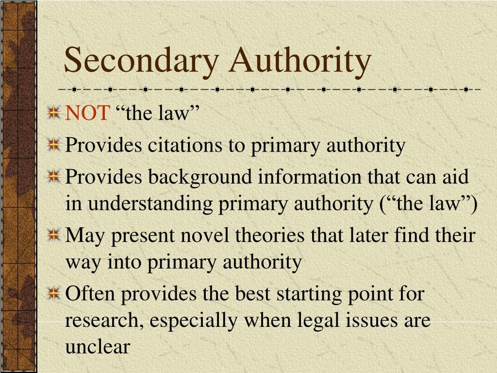 Secondary Authority