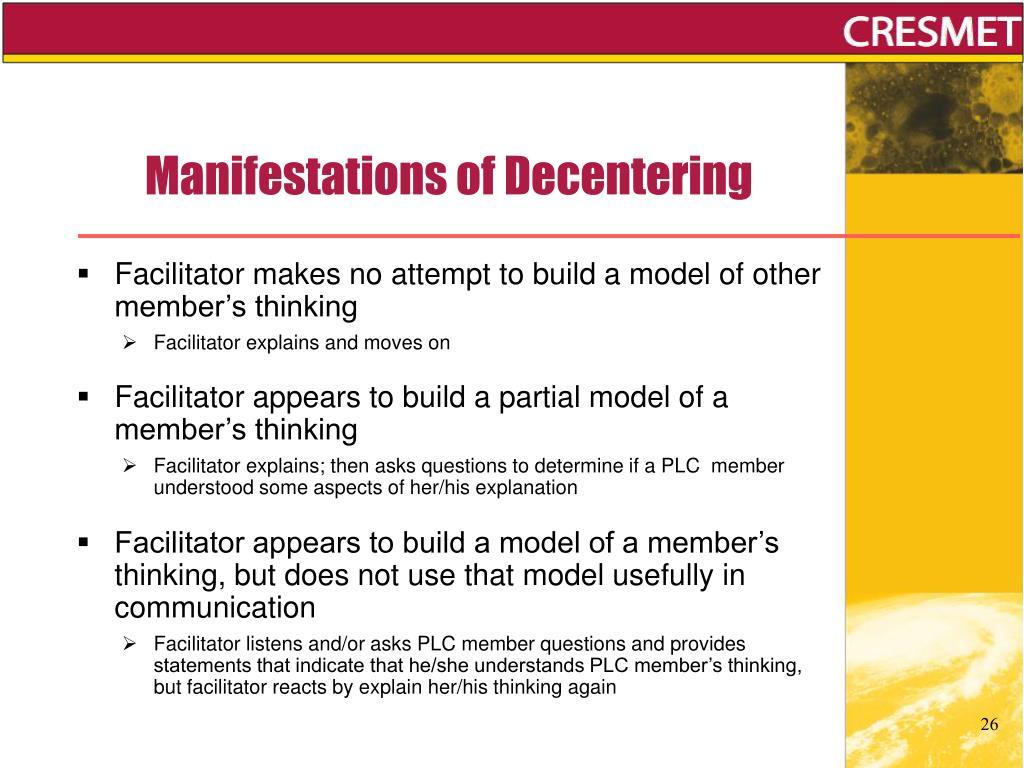 Manifestations of Decentering