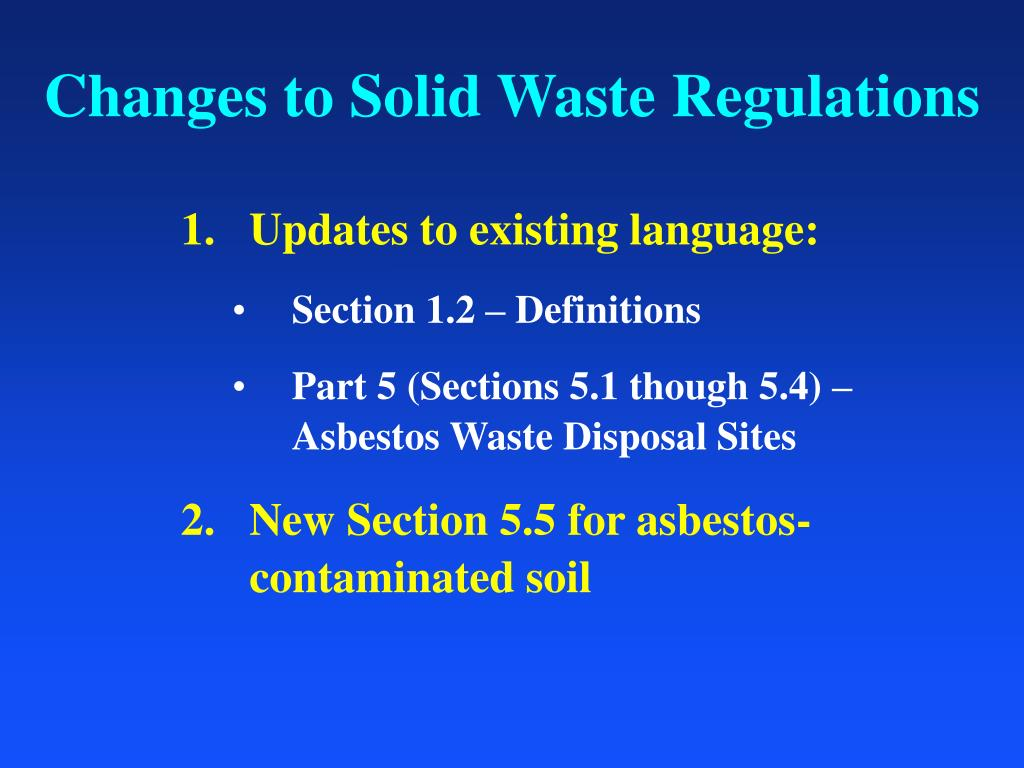 Changes to Solid Waste Regulations