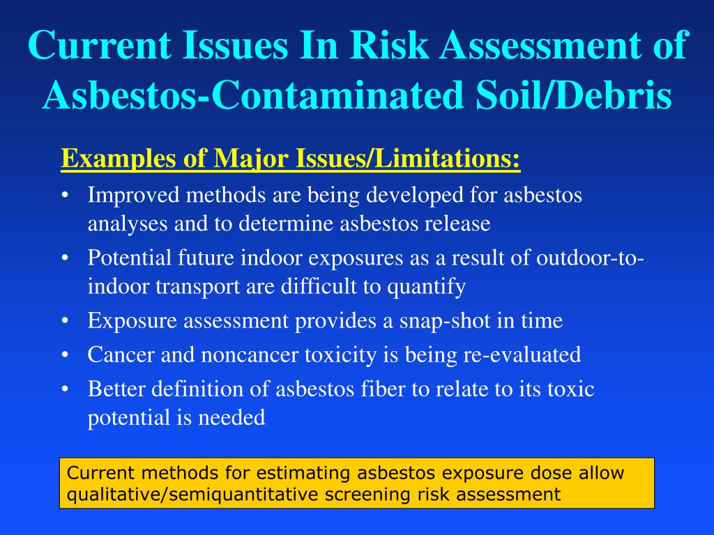 Current Issues In Risk Assessment of Asbestos-Contaminated Soil/Debris