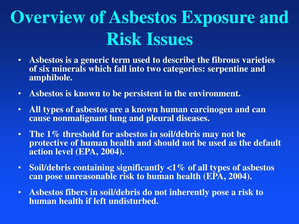 Overview of Asbestos Exposure and Risk Issues