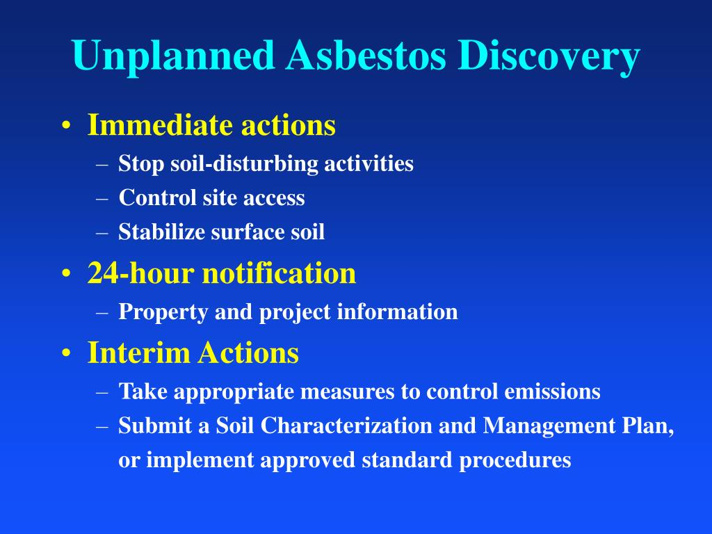 Unplanned Asbestos Discovery
