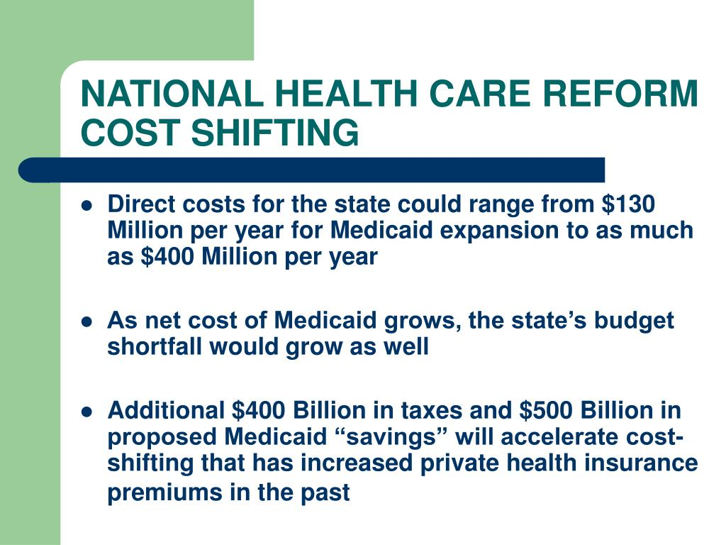 NATIONAL HEALTH CARE REFORM COST SHIFTING