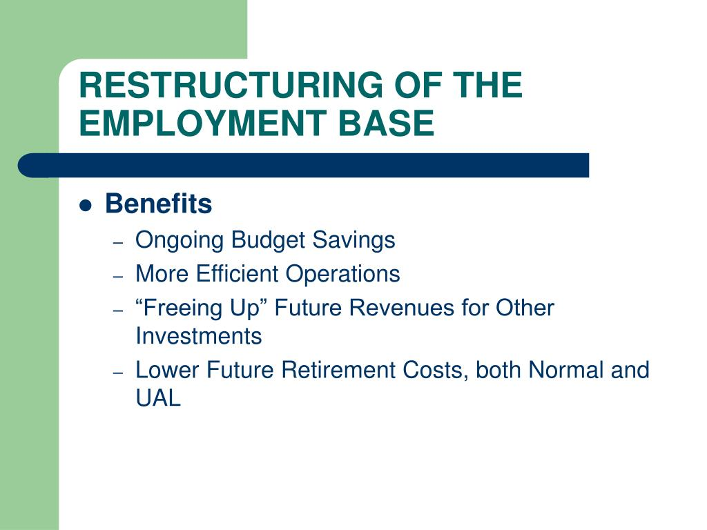 RESTRUCTURING OF THE EMPLOYMENT BASE