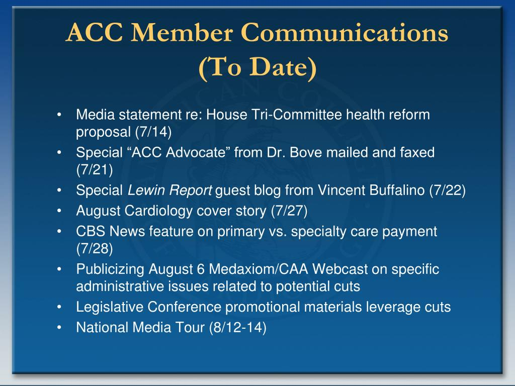 ACC Member Communications