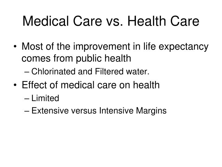 Medical Care vs. Health Care