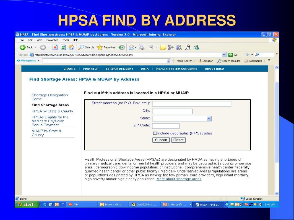 HPSA FIND BY ADDRESS