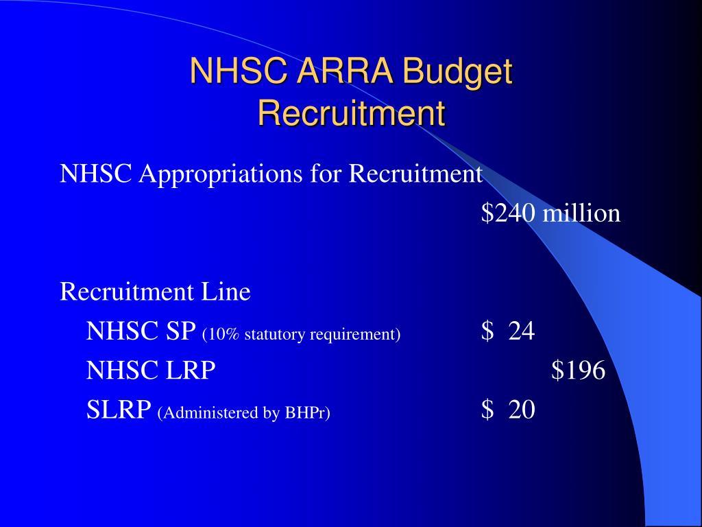 NHSC ARRA Budget