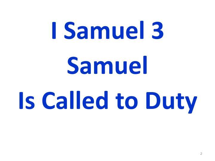 I Samuel 3
