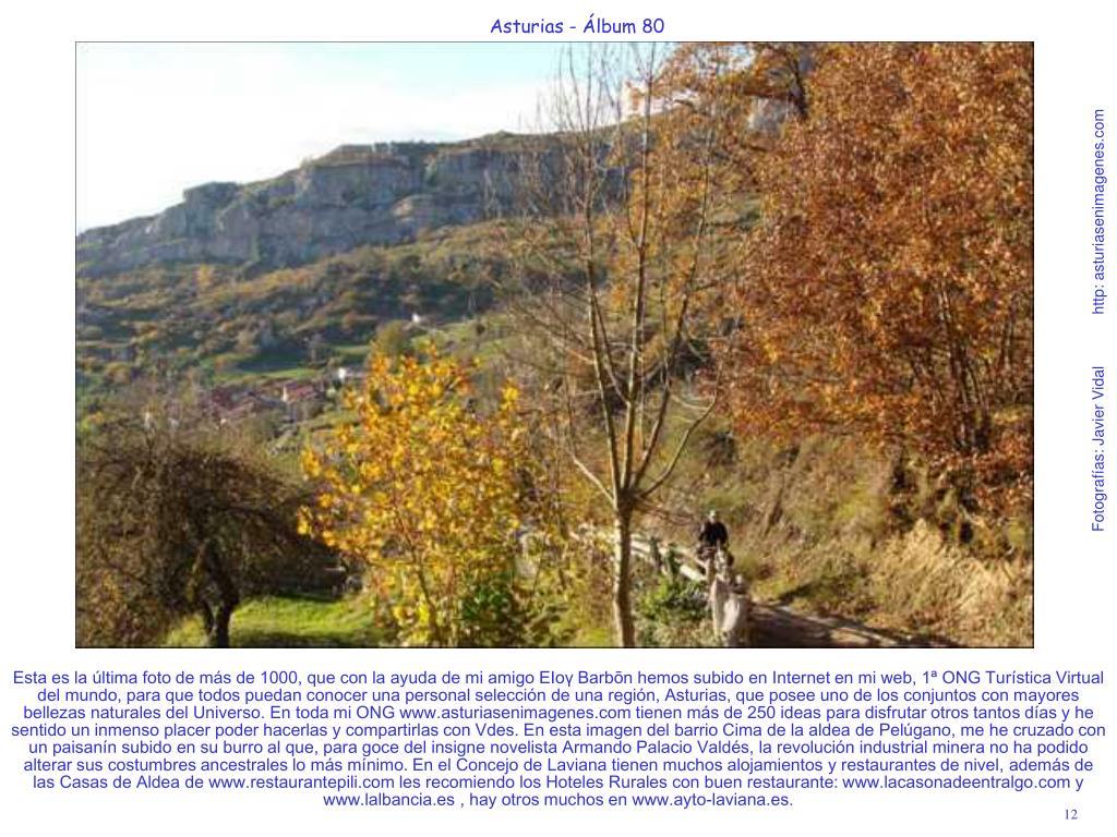 Esta es la última foto de más de 1000, que con la ayuda de mi amigo EIoү Βarbōn hemos subido en Internet en mi web, 1ª ONG Turística Virtual del mundo, para que todos puedan conocer una personal selección de una región, Asturias, que posee uno de los conjuntos con mayores bellezas naturales del Universo. En toda mi ONG www.asturiasenimagenes.com tienen más de 250 ideas para disfrutar otros tantos días y he sentido un inmenso placer poder hacerlas y compartirlas con Vdes. En esta imagen del barrio Cima de la aldea de Pelúgano, me he cruzado con un paisanín subido en su burro al que, para goce del insigne novelista Armando Palacio Valdés, la revolución industrial minera no ha podido alterar sus costumbres ancestrales lo más mínimo. En el Concejo de Laviana tienen muchos alojamientos y restaurantes de nivel, además de las Casas de Aldea de www.restaurantepili.com les recomiendo los Hoteles Rurales con buen restaurante: www.lacasonadeentralgo.com y www.lalbancia.es , hay otros muchos en www.ayto-laviana.es.