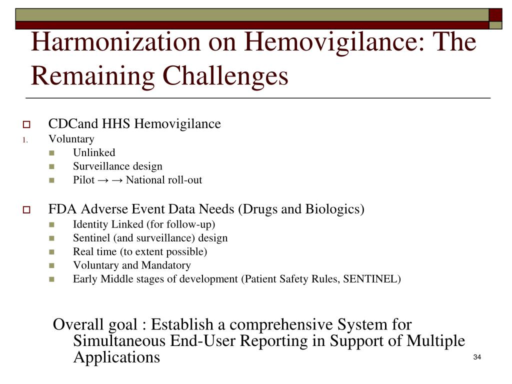 Harmonization on Hemovigilance: The Remaining Challenges
