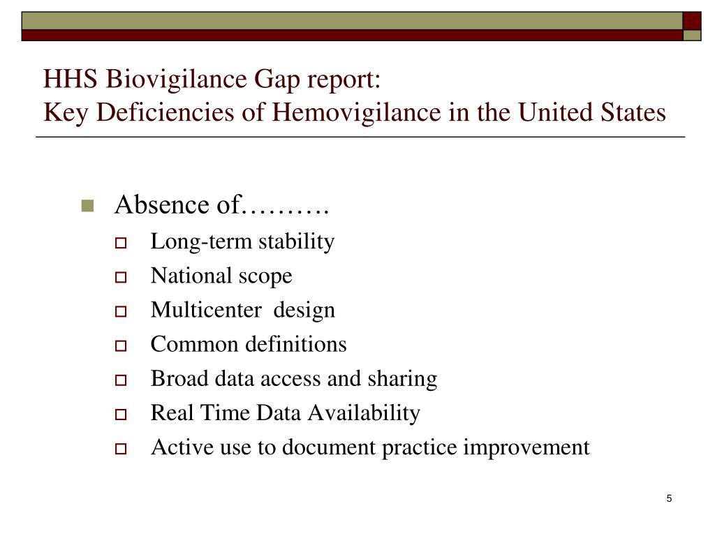 HHS Biovigilance Gap report: