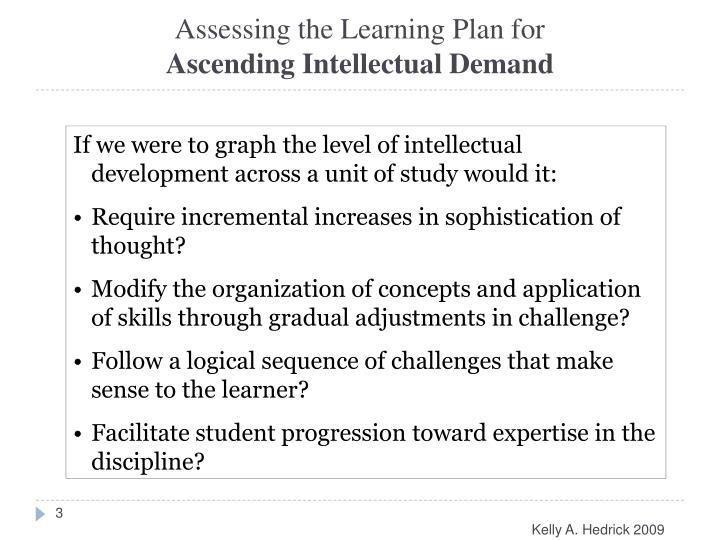Assessing the Learning Plan for