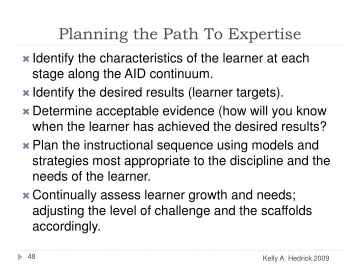Planning the Path To Expertise