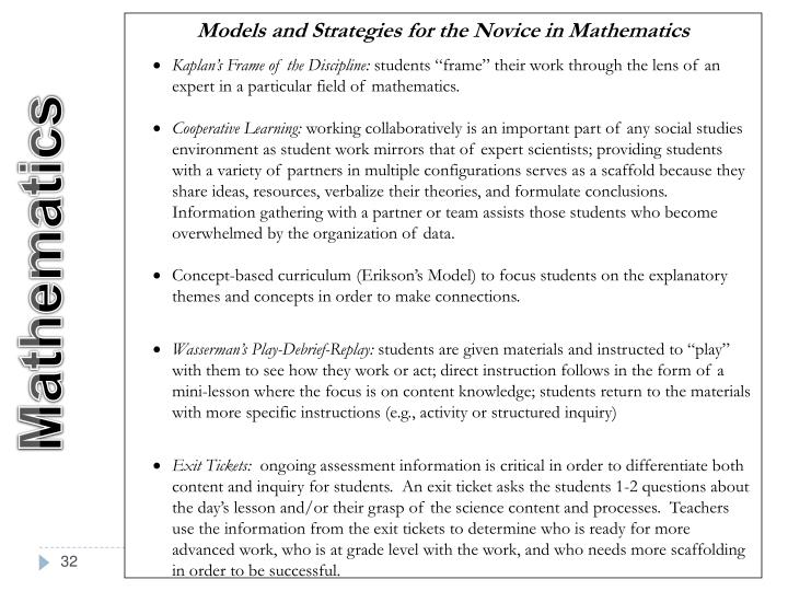 Models and Strategies for the Novice in Mathematics