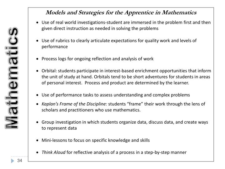 Models and Strategies for the Apprentice in Mathematics