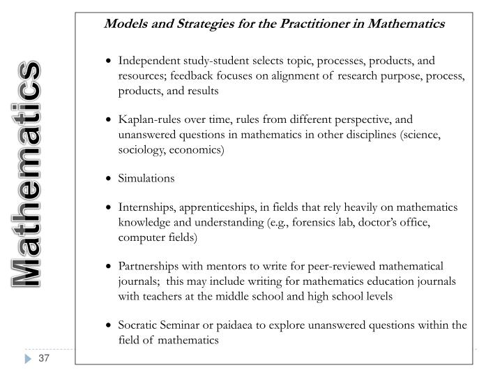 Models and Strategies for the Practitioner in Mathematics