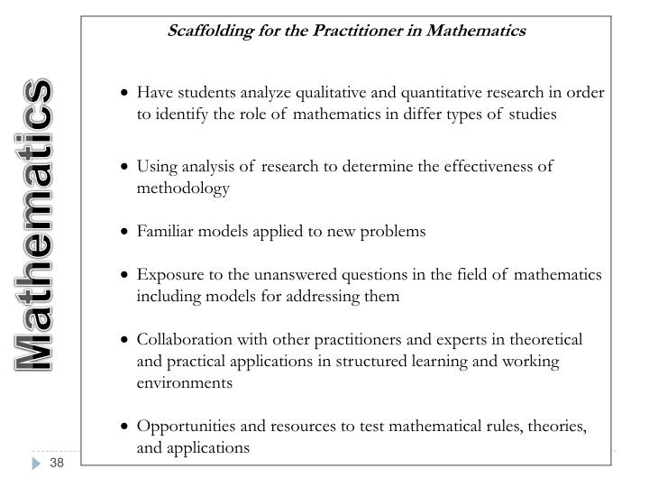 Scaffolding for the Practitioner in Mathematics