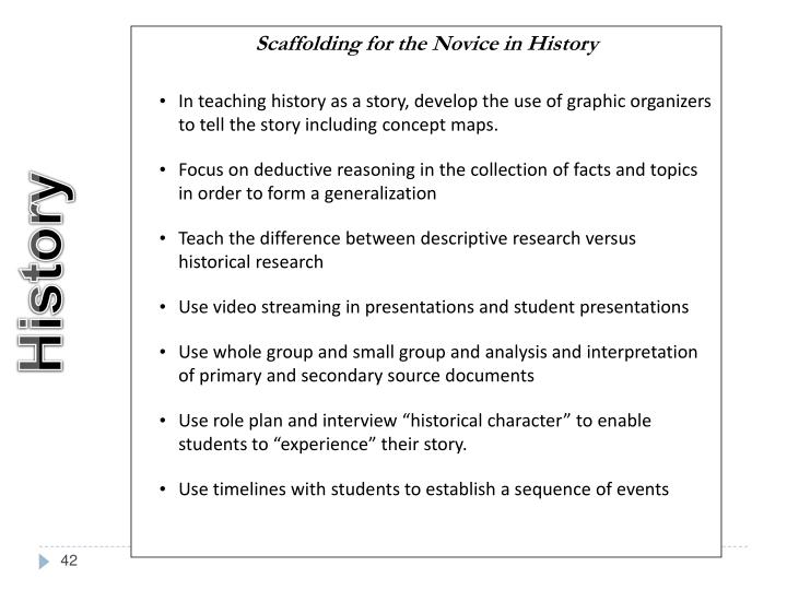 Scaffolding for the Novice in History