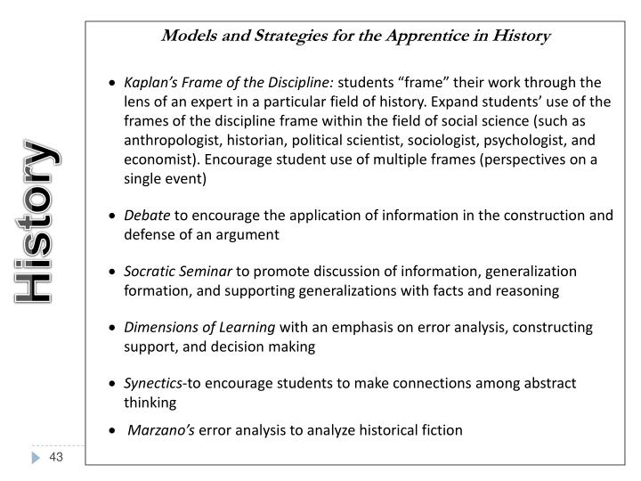 Models and Strategies for the Apprentice in History