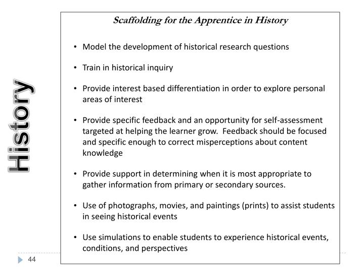 Scaffolding for the Apprentice in History