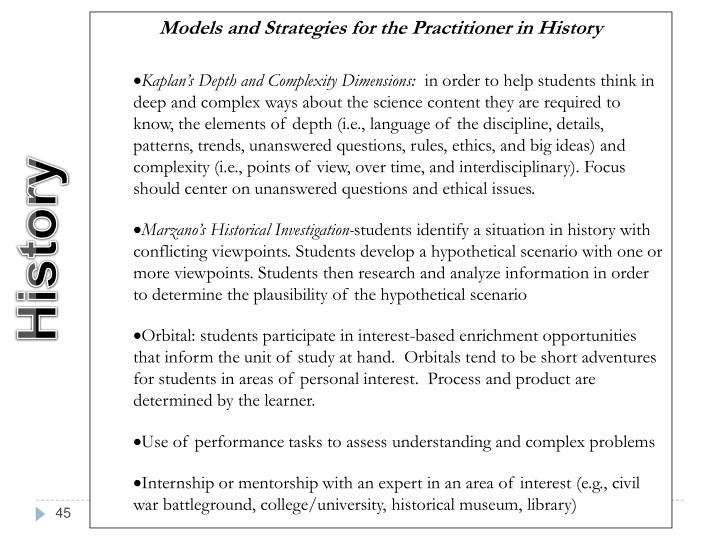 Models and Strategies for the Practitioner in History