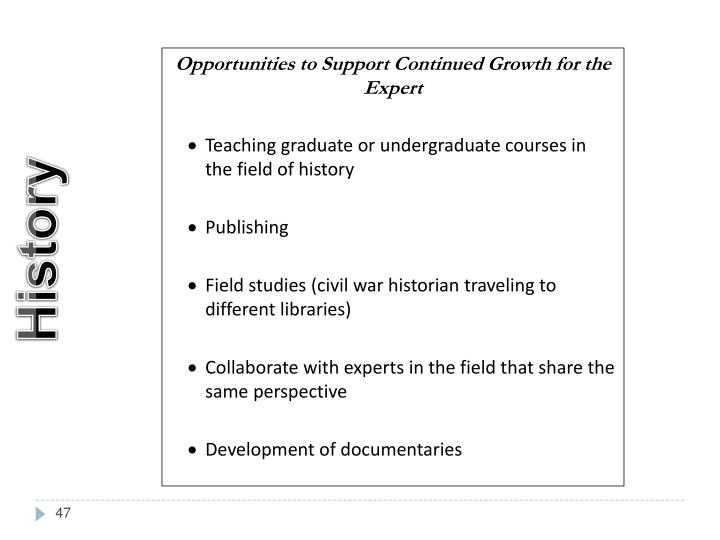 Opportunities to Support Continued Growth for the Expert