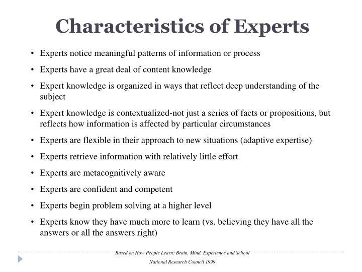 Characteristics of Experts