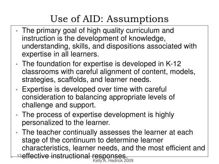 Use of AID: Assumptions