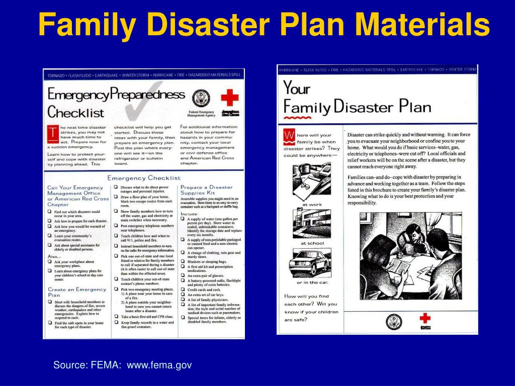 Family Disaster Plan Materials